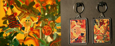 Ornamental HiJinx, oil painting, keychain
